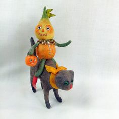Halloween Decoration Veggie Riding Black Cat ~ Spun Cotton By Arbutus Hunter