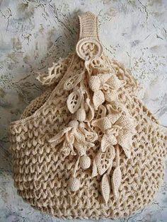No instructions, just a beautiful crochet bag. Love Crochet, Irish Crochet, Beautiful Crochet, Crochet Flowers, Knit Crochet, Vintage Crochet, Crochet Crafts, Yarn Crafts, Crochet Projects