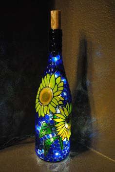 Sunflower Lighted Decorative Wine Bottle