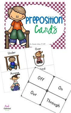 Preposition Cards - Perfect for kinesthetic learning, games, flash cards or bulletin boards.  Three types included.