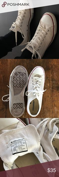 White converse Men's size 10 (woman's 12). Slightly worn on the bottom as seen in last photo Converse Shoes