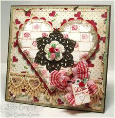 delightful heart with woven paper...like the spacing of the stamped roses on the paper strips...