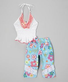Love this White Halter Top & Blue Floral Pants - Infant, Toddler & Girls by Lele for Kids on #zulily! #zulilyfinds