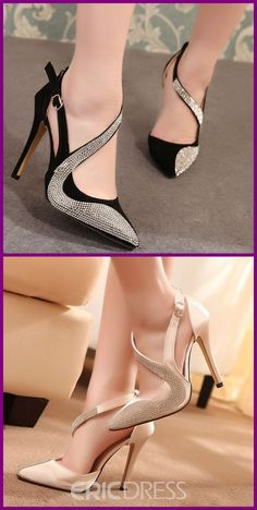 Rhinestone Point Toe Slingback Sandals – Luxury for the rich – Join the world of pin Fancy Shoes, Pretty Shoes, Cute Shoes, Shoe Boots, Shoes Sandals, Frauen In High Heels, Slingback Sandal, Fashion Heels, Luxury Shoes