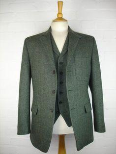 Green Herringbone 3 Piece Tweed Suit
