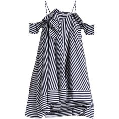 MSGM Open-shoulder striped cotton dress ($510) ❤ liked on Polyvore featuring dresses, vestidos, blue stripe, blue striped dress, ruffled dresses, striped dress, blue cold shoulder dress and blue a line dress