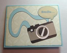 """Cricut Birthday Card.  """"Smile...  It's your picture perfect birthday.""""    Pack your bags Cartridge. *"""