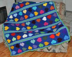 Afghan Blanket- Hearts a Flutter in multicolor splender- Handmade Crochet -  Design By Wanda