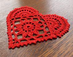 Red heart mini crochet doily Valentines Day by OhMyCraftUK on Etsy