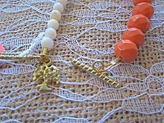 Bauble Bracelet - Coral, White, & Gold - Tree Charm - Toggle Clasp