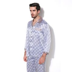 718b663cfb Luxury Male Sleepwear 100% Silk Long Sleeve Men Pyjamas Pajama Sets Pants  Autumn Men Silk Pajamas Set CMR16068-in Pajama Sets from Men s Clothing ...
