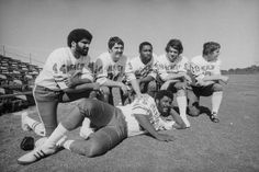 1975, Miami, FL Members of the Super Bowl Champion Pittsburgh Steelers pose for pictures as the AFC pros opened training.  (L to R)  Franco Harris, Andy Russell, L.C. Greenwood, Jack Ham, Roy Gerela, and Joe Greene relaxing on the sod.