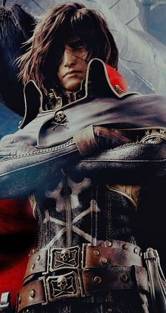 Space Pirate Captain Harlock poster - no idea what this is, but it sure looks cool. Description from pinterest.com. I searched for this on bing.com/images
