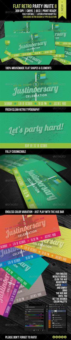 Retro Love Wedding Invite XI Template, Postcard design and Print - fresh anniversary invitation font