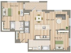 Park Chelsea at The Collective | 2 Bedroom 2 Bathroom Floorplan | 1125 sq ft | Luxury Apartments In Washington DC