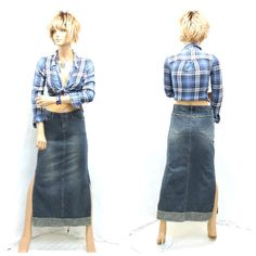 Vintage 90s denim maxi skirt S Unionbay long by SunnyBohoVintage