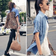 Vintage Women's Chic Denim Splicing Chiffon Leopard T-Shirt Loose Tops Blouse