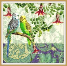 A personal favorite from my Etsy shop https://www.etsy.com/listing/244057461/paper-napkins-for-decoupage-two-parrots