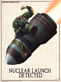 "New Starcraft themed fan art, this time for the Terran race. Fans will recognize the tag line ""Nuclear Launch Detected"" as something that precedes the most devastating, yet, challenging to pull off offensive in the game.The imagery of a guy riding a nuke like a bucking bronco is an homage to director Stanley Kubrik's classic cold war satire film ""Dr. Strangelove, Or How I Learned to Stop Worrying and Love the Bomb"".  Order a huge 18″ by 24″ limited run print, email at ydavros@gmail.com! $15"