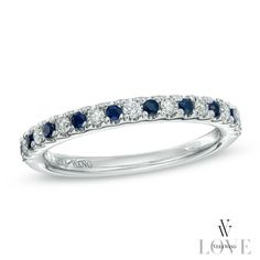Vera Wang LOVE Collection 1/8 CT. T.W. Diamond and Blue Sapphire Wedding Band in 14K White Gold pt 2