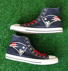 7f07aaa8c168b0 Bandana Fever New England Patriots Print Custom Navy Converse High Top Shoes