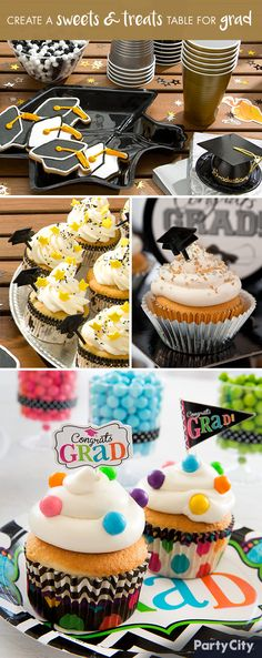 Celebrate your grad's sweet success with an impressive display of tableware, decorations and yummy treats. Add an extra touch to the table with accents like confetti, cupcake party picks, color-coordinated plates and napkins and other themed décor. Both you and the grad will be congratulated for a job well done!