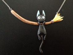 Polymer clay Jiji from Kiki's Delivery Service necklace