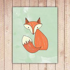 Fox Printable Art, Nursery Print, Mint Green Wall Art, Instant Download, Fox Art Print, Instant Download
