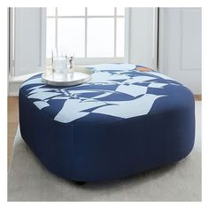West Elm Mae Ottoman- Large, Charley Harper Print ($499) ❤ liked on Polyvore featuring home, furniture, ottomans, fabric furniture, fabric ottoman, estate furniture, fabric footstool and west elm ottoman