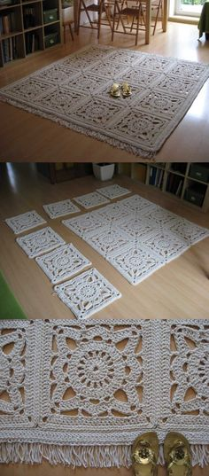 Crochet Carpet, Crochet Coat, Thread Crochet, Diy Crochet, Crochet Square Blanket, Crochet Squares, Baby Knitting Patterns, Crochet Patterns, Manta Crochet