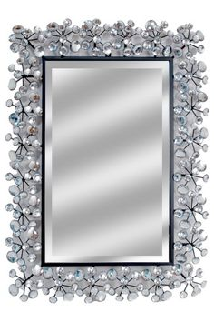 Rectangle Jeweled Mirror White Silver On Hautelook