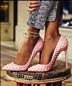 bubble gum pink studded louboutins...#love