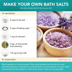 Make your own bath salts with sea salt to detoxify, cleanse your #skin and de-stress from the day without breaking the bank! #beauty