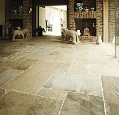 Steptoes Yard have the best choice of top quality, affordable reclaimed stone and reclaimed york stone flags in the UK. Visit our yard or view online today. Stone Kitchen Floor, Kitchen Floors, Kitchen Reno, Kitchen Dining, London Living Room, Room London, Flagstone Flooring, Tile Flooring, Flooring Ideas
