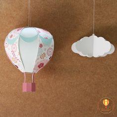 Balão e nuvem 3d.