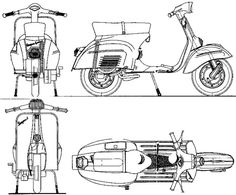 Piaggio Vespa, Vespa Lambretta, Vespa Scooters, Scooter Garage, Vespa Px 125, Vespa Sprint, Wooden Truck, Character Model Sheet, Beetle Car