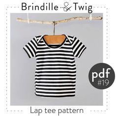 Baby shirt pdf pattern, lap neck tee, Preemie-3T  long or short sleeve,  easy photo tutorial - Pattern 19