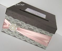 Wedding Card Box Custom Envelope Card Holder Lace Blush Handmade Silk Card Box on Etsy, $78.00