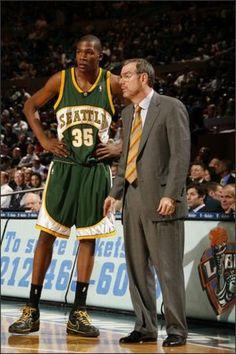Kevin Durant confers with PJ Carlesimo, the last Sonics head coach.