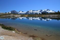 A view looking across Elfin Lakes towards the scenic mountains