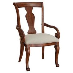 "Splat-back arm chair with scrolling arms and cabriole legs.  Product: ChairConstruction Material: Radiata hardwood solids, flat cut mahogany veneer and fabricColor: Warm umber and ivoryFeatures:  Decorative corbelsShaped crown tops Dimensions: 40"" H x 23.5"" W x 26"" D"
