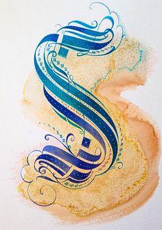 The Letter S Blue Ink I L V Th L Tt R
