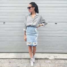 Pin for Later: 43 Outfits Everyone Loves on Pinterest A Distressed Denim Pencil Skirt, a Striped Top, and Trainers