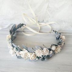 Winter wedding Bridal floral crown flower crown Floral by SERENlTY