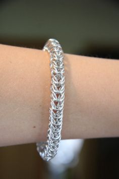 Men's Large Silver Chainmaille Bracelet by JKODesigns on Etsy, $60.00