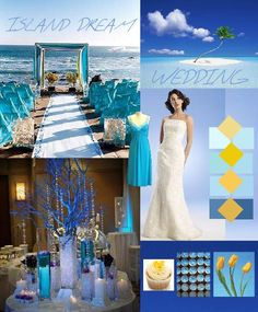 Beach wedding theme in bright blues, turquoise and hints of yellow!