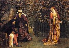 """*""""Sir Tristram and Queen Iseult"""" by Maria Spartali Stillman [Tristram's dog recognizes his mad master.]"""