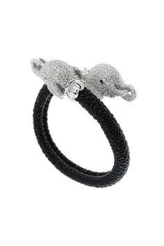 Pave Elephant Head Bracelet