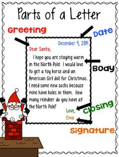 """Santa Letters! - JD's Rockin' Readers - Check out this writing activity """"Santa Letters"""" where students will learn about the parts of the letter including the date, greeting, body, closing and the signature. Perfect for practicing writing facts of your little ones."""
