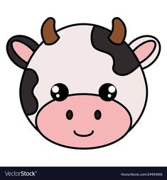 Cute and little cow head character vector image on VectorStock Cute Little Drawings, Cute Kawaii Drawings, Easy Animal Drawings, Easy Drawings, Cow Birthday, Pop Art Colors, Cow Head, Cow Face, Cute Cows